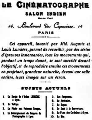 Reclame para a primeira exibição pública dos filmes de Lumière